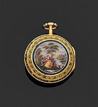 LEPINE à PARIS SECONDE MOITIÉ DU XVIIIème siècle Montre de poche époque Louis XVI. Lunette ciselée et ornée de petits motifs fleuris...