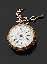 H.SAMUEL- SWISS - MANCHESTER FIN XVIIIème - DÉBUT XIXème siècle Montre de poche en or jaune (14K). Cadran émail blanc avec index chi...