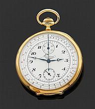 """MINERVA VERS 1900 Montre de poche en or jaune avec chronographe monopoussoir. Cadran émail blanc avec index et aiguilles """"Breguet"""", ..."""