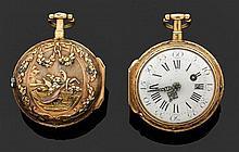 GUDIN à PARIS SECONDE MOITIÉ XVIIIème siècle Montre de poche à toc en or rose époque Louis XV. Lunette ciselée. Revers, orné d'une s...
