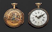 CHARLES MARE à PARIS SECONDE MOITIÉ DU XVIIIème siècle Montre de poche en or rose époque Louis XVI. Lunettes ciselées et serties de ...