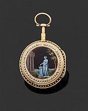 ANONYME SECONDE MOITIÉ DU XVIIIème siècle Montre de poche en or époque Louis XVI. Revers centré d'un médaillon peint sur émail repré...