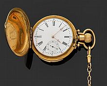 EXPOSITION UNIVERSELLE 1878 - GENèVE CHRONOMèTRE RéPéTITION Montre de poche savonnette en or jaune avec répétition des quarts. Cadra...