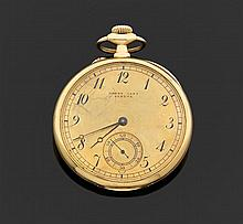 HENRY CAPT, L. GALLOPIN & Cie SUCESSEURS, GENÈVE CHRONOMèTRE Fin XIXème siècle Montre de poche plate en or jaune. Cadran doré avec i...