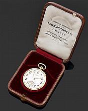 PATEK PHILIPPE LE 10 MARS 1927 Montre de poche en or jaune. Cadran argenté avec index chiffres arabes appliqués en or et aiguilles ...