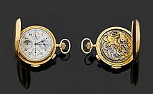 LE PHARE - LE LOCLE - SUISSE DATéE DE 1932 Montre de poche savonnette en or jaune avec chronographe monopoussoir, quantième perpétue...