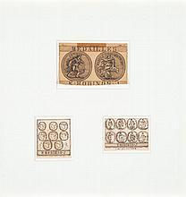 Joseph Ernest Ménétrier dit Émile Josome HODINOS (Paris 1853-Ville-Evrard 1905) 3 projets de médaille Encre sur papier dont un dessi...
