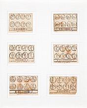 Joseph Ernest Ménétrier dit Émile Josome HODINOS (Paris 1853-Ville-Evrard 1905) 6 projets de médaille Encre sur papier Signées sur c...