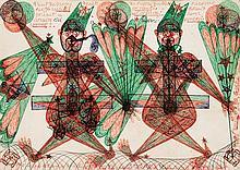 Janco Domsic (1915-1983) Sans titre Stylo à bille de couleurs sur papier 25,5 x 35cm