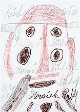 Rudolf Horacek (1915-1986) Visage Crayon et crayons de couleur sur papier Signé en bas à droite 14,5 x 11cm