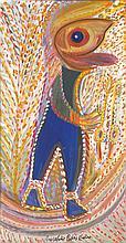 Anselme Boix-Vives (1899-1969) Kleiner Schifabrer in blauen hosen Huile sur carton Signée en bas au centre 68 x 36cm