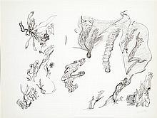Thérèse Bonnelalbay (1931-1980) Composition Encre sur papier Signée en bas à droite 48 x 64cm