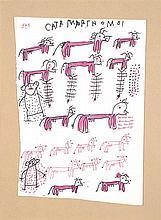 Carter WELBORN (XXe siècle) Vaches Feutre et stylo-bille sur papier Signé en haut 32 x 22cm