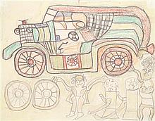 Henri Speller (XXe siècle) Voiture avec personnages Crayon et pastel sur papier 26 x 34cm