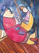 Albert Louden (né en 1942) Le couple, 2002 Huile sur toile Signée et datée