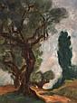 Josef Pankiewicz (1886-1940) La route et l'arbre, vers 1930 Huile sur panneau Signée en bas à droite 35 x 27cm