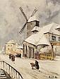 Henri Alexis Schaeffer (1900-1975) Le moulin de la galette sous la neige Huile sur toile Signée en bas à droite 61 x 46cm