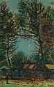 JEAN CARZOU (1907-2000) Maison dans la forêt, 1947 Huile sur isorel Signée et datée
