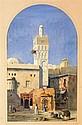 ALEXANDRE CAMINADE (1789-1869) REPOS DEVANT LE MINARET Aquarelle sur papier Signée en bas à gauche 36,5 X 21,5cm
