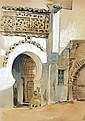 ÉDOUARD DOIGNEAU (1865-1954) ORIENTAL ASSIS PRÈS D'UNE PORTE ORIENTAL Crayon et aquarelle sur papier 35 X 27cm