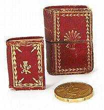MINUSCULE. Les Ris, Les Jeux, Les Plaisirs, étrennes charmantes. Paris, Marcilly, 1812; in-128 (30 x 21mm) de 64 pp., maroquin rouge...