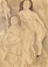 PASCIN (Jules PINCAS dit) (1885-1930) Les filles Fusain sur papier Signé en bas à droite Charcoal on paper Signed lower right 51 x 3...