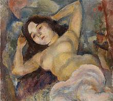 PASCIN (Jules PINCAS dit) (1885-1930) Nu nacré aux bras levés derrière la tête, 1920 Huile sur toile Signée en bas à gauche Oil on c...