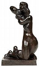 Joseph Csaky (1888-1971) Jeune femme nue agenouillée, 1945 Épreuve posthume en bronze à patine mordorée brun et vert Porte le cachet...