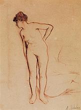 SUZANNE VALADON (1865-1938) Nu debout Sanguine sur papier Signée en bas à droite Sanguine on paper Signed lower right 25 x 18,5cm -...