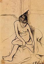 Suzanne Valadon (1865-1938) Nu assis se tenant le pied vers 1904-1905 Crayon sur papier Signé en bas à droite Pencil on paper Signed...