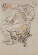 Édouard Vuillard (1868-1940) Nu blond dans un fauteuil crapaud vers 1912 Pastel sur papier Monogrammé E.V en bas à droite Pastel on ...