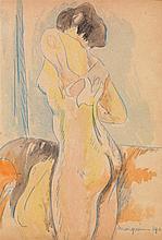Henri Charles Manguin (1874-1949) Nu s'essuyant, 1902 Aquarelle et pastel sur papier Signée et datée en bas à droite  Watercolour an...