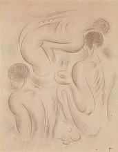 André Masson (1896-1987) Trois nus Crayon et crayons de couleur sur papier Signé en bas à gauche Daté en bas à droite  Pencil and co...