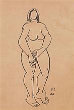 Fernand Léger (1881-1955) Nu debout, 1906 Encre sur papier Monogrammée et datée
