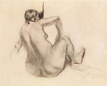 Jacques Villon (1875-1963) Le modèle de dos, 1911 Fusain sur papier Signé et daté en bas à droite  Charcoal on paper Signed and date...