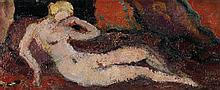 Louis Valtat (1869-1952) Nu allongé Huile sur panneau Signée du monogramme en bas à gauche  Oil on panel Signed with the monogram lo...
