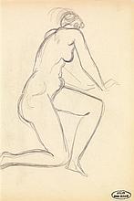André Derain (1880-1954) Nu, un genou à terre Crayon sur papier Porte le cachet de l'atelier en bas à droite  Pencil on paper Inscr...