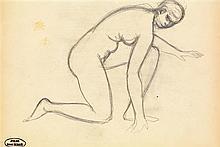 André Derain (1880-1954) Nu à genoux Crayon sur papier Porte le cachet de l'atelier en bas à gauche  Pencil on paper Inscribed with...