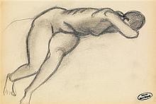 André Derain (1880-1954) Nu à demi couché Crayon sur papier Porte le cachet de l'atelier en bas à droite  Pencil on paper Inscribe...