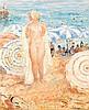 HENRI LEBASQUE (1865-1937) BAIGNEUSE SUR LA PLAGE DE CANNES Huile sur toile Signée en bas à droite 67 x 55 cm