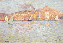 HENRI MARTIN (1860-1943) Arrivée en voilier à Marseille, vers Notre Dame de la Garde Huile sur toile Signée en bas à gauche 50 x 73 ...