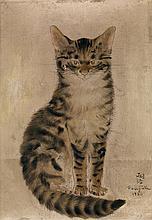 Léonard Tsuguharu Foujita (1886-1968) Chat roux assis, 1930 Huile sur toile Signée et datée en bas à droite 34 x 24 cm