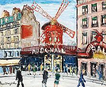 LUCIEN GENIN (1894-1953) LE MOULIN ROUGE Huile sur toile Signée en bas à gauche 38 x 46 cm