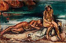 Achille Émile Othon Friesz (1879-1949) Deux baigneuses dans les rochers ou Nus sur la plage, 1925 Huile sur toile Signée et datée en...