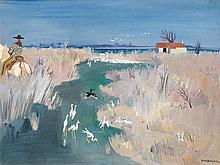 Yves Brayer (1907-1990) Oiseaux à l'étang, Camargue Huile sur toile Signée en bas à droite 50 x 65 cm