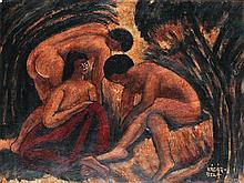 BELA KADAR (1877-1955) La baignade Huile sur carton Signée en bas à droite 28,5 x 37,5 cm