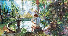 Camille Nicolas Lambert (1876-1963) JEUNE FILLE AU BORD DU BASSIN Huile sur toile Signée en bas à droite 39,5 x 72 cm