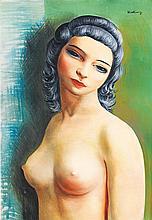 Moïse Kisling (1891-1953) Buste de Femme Huile sur toile Signée en haut à droite 55 x 38 cm