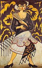 Natalia Sergeevna Gontcharova (1881-1962) Femme espagnole à l'éventail, 1920 Huile sur toile Signée en bas à droite 112 x 71,5 cm