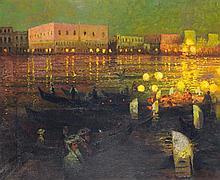 Abel Truchet (1857-1918) le Pont des Doges Huile sur toile Signée en bas à droite 68 x 78 cm
